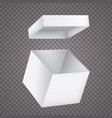 open white paper box on white background vector image