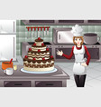 pastry cook decorating a cake vector image