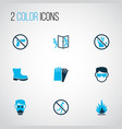 protection icons colored set with flammable vector image