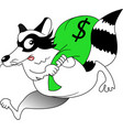 raccoon with a bag money vector image vector image
