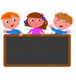 school children holding a black board vector image