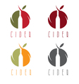 set of cider with apple and bottle vector image vector image