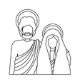 silhouette half body virgin mary and saint joseph vector image vector image