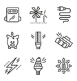 Simple line icons for saving energy concept vector image vector image