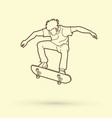 skateboarder jumping outline graphic vector image