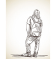 sketch long-haired man standing with backpack back