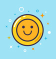 smiling face emoticon line icon outline vector image