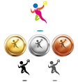 Sport icon for handball and medals vector image vector image