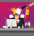 stressed businessman on workplace tired to work vector image vector image