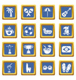 travel brazil icons set blue square vector image vector image
