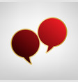 two speech bubble sign red icon on gold vector image vector image
