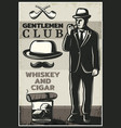 vintage british gentleman poster vector image