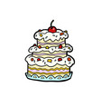 wedding or anniversary cream cake with cherries vector image