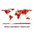 world continent map composition of tomato vector image vector image