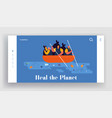 world ocean pollution website landing page people vector image vector image