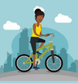 young black woman riding bicycle vector image vector image
