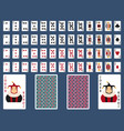 poker set with isolated cards casino gambling deck vector image