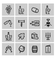 black wine icon set vector image