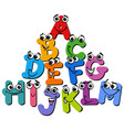 alphabet letter characters cartoon vector image