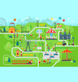 amusement park map infographic elements in flat vector image