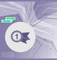 award badge with ribbons icon on purple abstract vector image