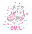 baby print pink cute hand drawn owl vector image vector image
