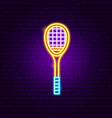 badminton racket neon sign vector image vector image