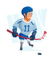 cartoon ice hockey player in blue uniform vector image vector image
