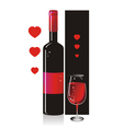 Composition from a bottle and a glass with red vector image