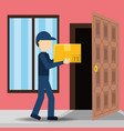 courier delivery with box package service vector image vector image
