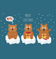 cute brown bear sticker set elements for vector image vector image