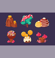 cute sweet candy trees mountain mushrooms set vector image vector image