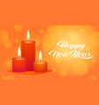 decorative red candle icon happy new year merry vector image