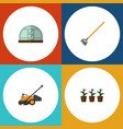 flat icon farm set of lawn mower hothouse tool vector image vector image