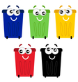 Funny colorful recycle bin mascots vector image