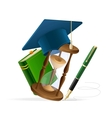 Graduation cap with book sand clock and pen vector image vector image