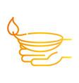 happy diwali india festival hand with diya lamp vector image vector image