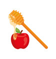 honey dipper stick with apple on white background
