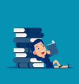 huge stack books reading and learning concept vector image vector image
