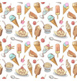 ice cream hand drawn seamless pattern vector image vector image