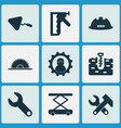 industry icons set with working sawmill vector image vector image