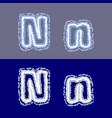 letter n on grey and blue background vector image vector image