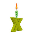 letter x birthday font letter and candle vector image vector image