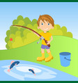 little boy fishing vector image vector image