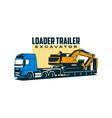 loader trailer excavator vector image vector image