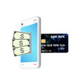 money banknote transform smartphone to credit vector image vector image