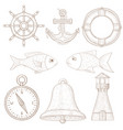 nautical symbols collection marine signs hand vector image