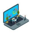 Online office isometric laptop and