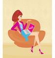 Online shopping girl vector image vector image