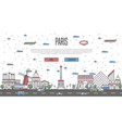 paris skyline with national famous landmarks vector image